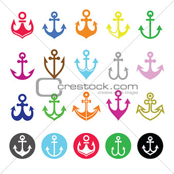 Anchor icons set - symbol of sailors, sea, and Christian symbol of hope