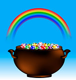 rainbow and pot of gems