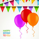 Birthday card with colored ribbons and balloons