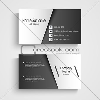 Business card with black and white sticker template