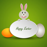 Easter card with sign bunny and colored eggs