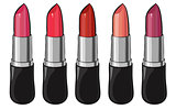 Set of color lipsticks.