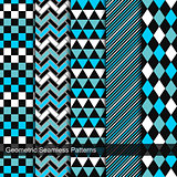 Set of vector geometric seamless patterns.