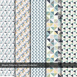 Mosaic colorful patterns - seamless collection.