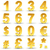 Numbers Set in Gold with clipping path