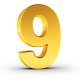 The number nine as a polished golden object with clipping path