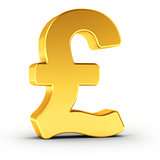 The Great Britain Pound symbol as a polished golden object with