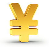 The Yen symbol as a polished golden object with clipping path