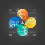Business Infographics Design Template. Vector Elements. Management Circle Chart Illustration