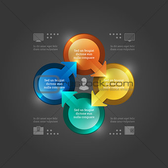 Business Infographics Design Template. Vector Elements. 3D Circle Chart Illustration