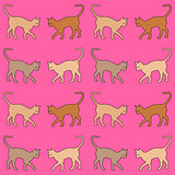 pink background with cats