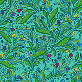 Seamless floral pattern in green hues