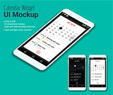 Calendar mobile app UI smartphone mockup