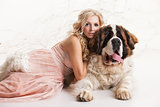 Young Woman And Big Dog