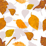 Seamless pattern autumn leaves on white background