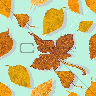 Autumn colored leaves seamless illustration