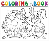 Coloring book bunny painting eggs