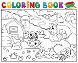Coloring book cow near farm theme 3