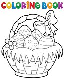 Coloring book Easter basket theme 1
