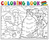 Coloring book farmer near farmhouse 1