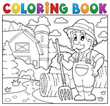 Coloring book farmer near farmhouse 2