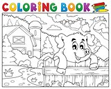 Coloring book pig behind fence near farm