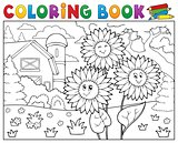 Coloring book sunflowers near farm