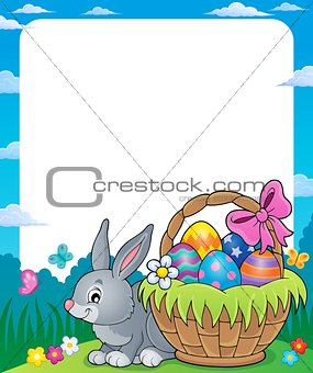 Frame with Easter basket and bunny 1