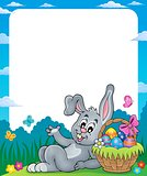Frame with Easter basket and bunny 2