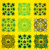 Marijuana leaves design stamps vector illustration
