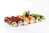 Sushi set on white background
