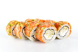 Not typical sushi roll on white background