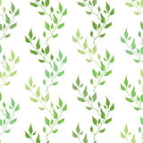 Seamless green spring pattern with olive leaves