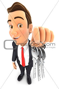 3d businessman holding a bunch of keys