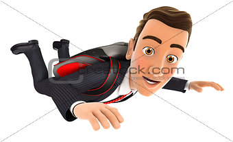 3d businessman jumping with a parachute