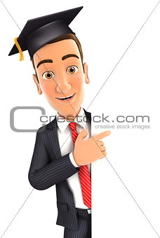3d businessman with mortarboard pointing to right blank wall