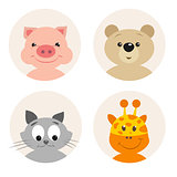 set of four cute cartoon animal character