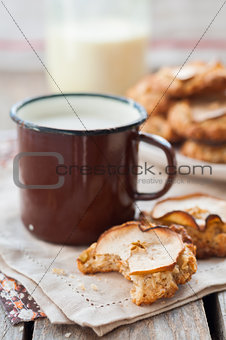 Apple Oat Cookies with a Mug of Milk