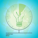 Vector light bulb illustration with globe map and clock.