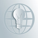 Vector light bulb illustration with globe map.