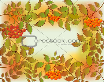 Frame from autumn leaves and rowan. EPS10 vector illustration
