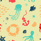 Seamless Vector Pattern Marine elements Set