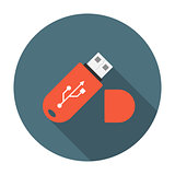 USB flash drive flat icon