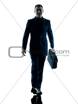 business man walking silhouette isolated