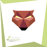 low poly animal icon. vector bear