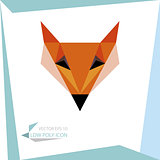 low poly animal icon. vector fox