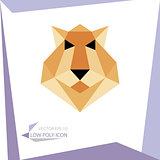 low poly animal icon. vector lion
