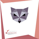 low poly animal icon. vector raccoon