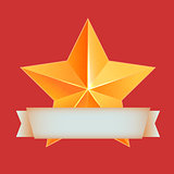Golden 3d star with ribbon. The best reward