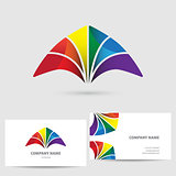 Modern icon design logo element with business card template. Colorful vector illustration